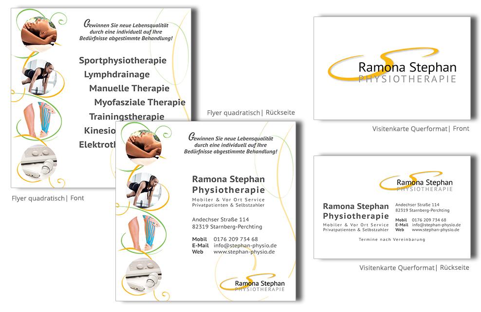 Referenz Drucksachen Drucksachen - Stephan Physio Visitenkarte Flyer
