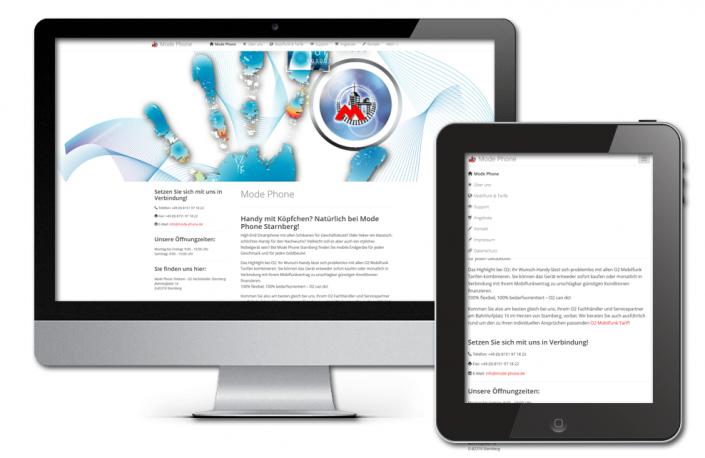 Projekt: Responsive Website für Modephone O2 Starnberg
