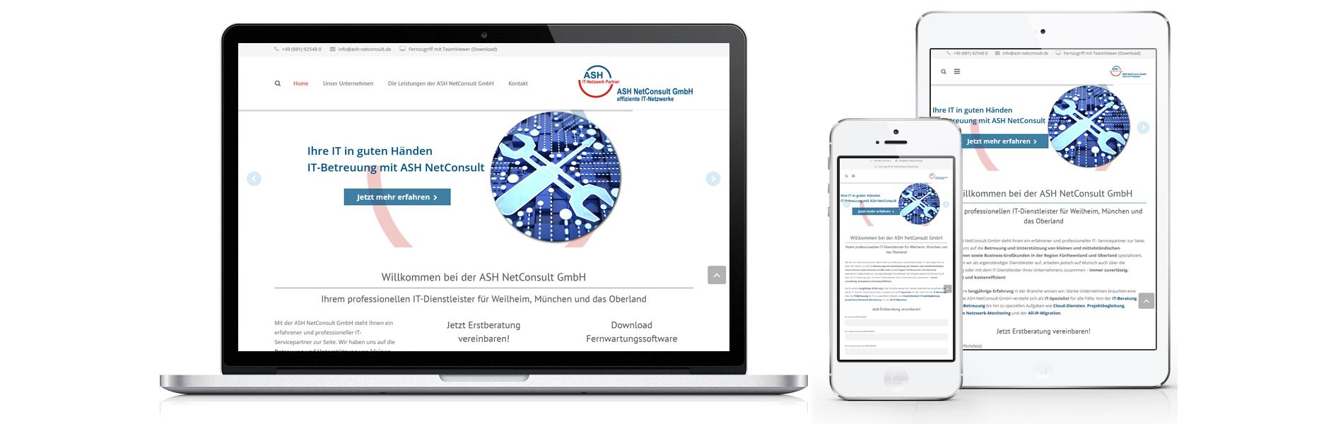 Projekt responsive Website ASH NetConsult