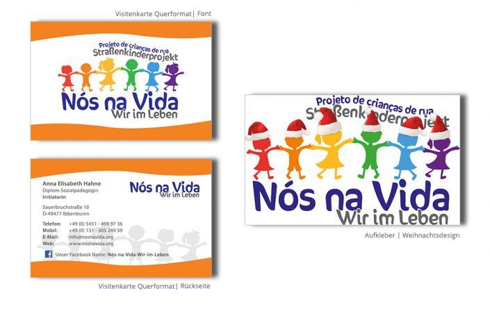 Referenz Drucksachen Drucksachen - Nos na Vida Visitenkarten Aufkleber
