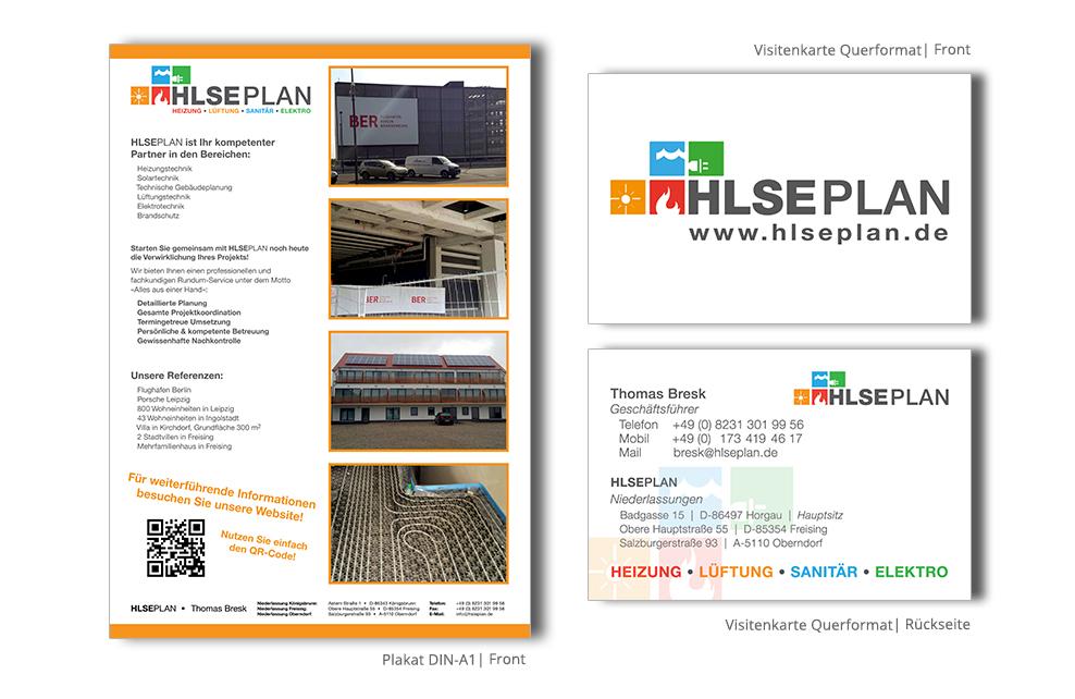 Referenz Drucksachen HLSE Plan Plakat Visitenkarten