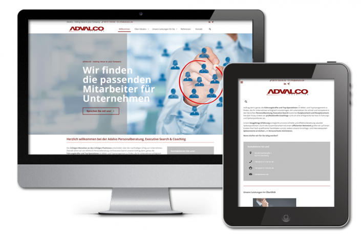 Referenz Webdesign: Advalco Website